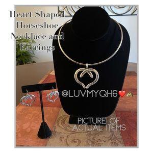 Heart Shaped Horseshoe Pendant Choker & Earrings